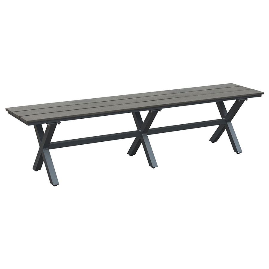 Great Boaz Faux Wood + Powder Coated Metal Modern Outdoor Dining Bench