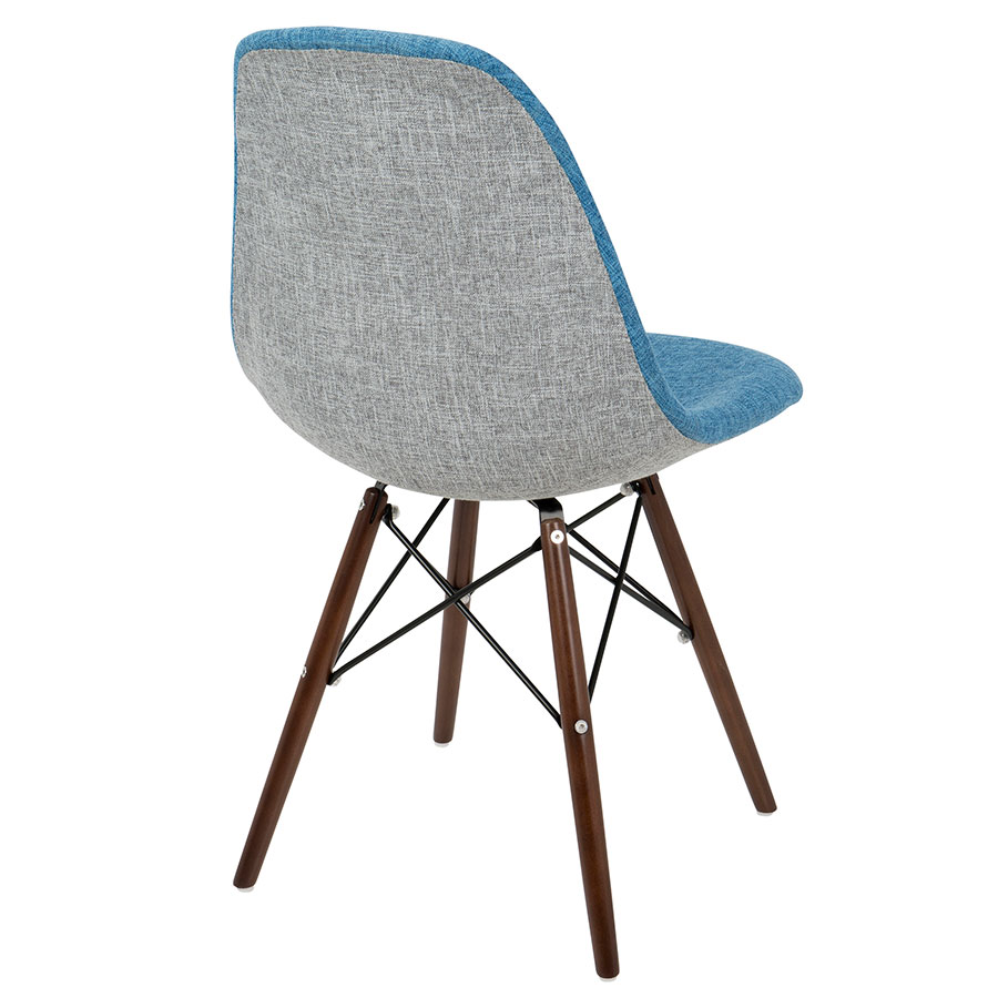 ... Bora Mid Century Modern Blue + Gray Side Chair   Back View ...