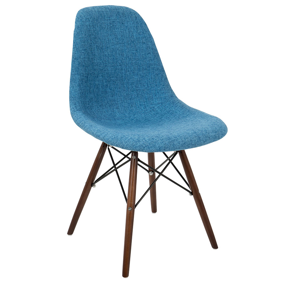 High Quality Bora Mid Century Modern Blue + Gray Side Chair