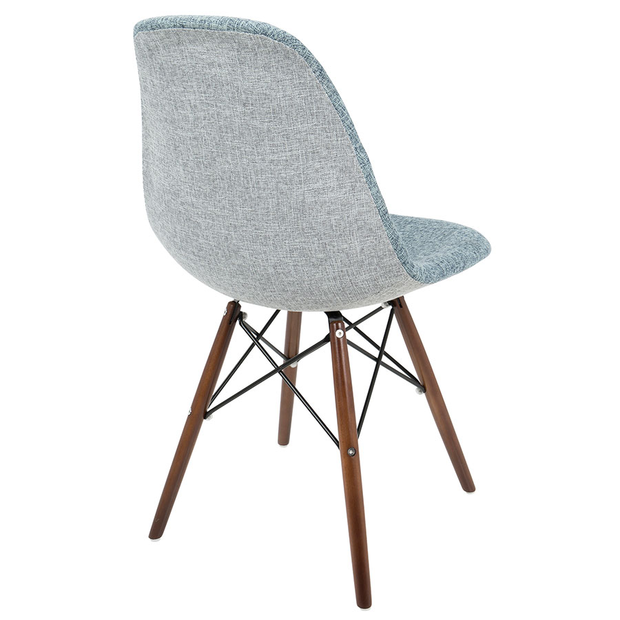 ... Bora Mid Century Modern Light Blue + Gray Side Chair   Back View ...