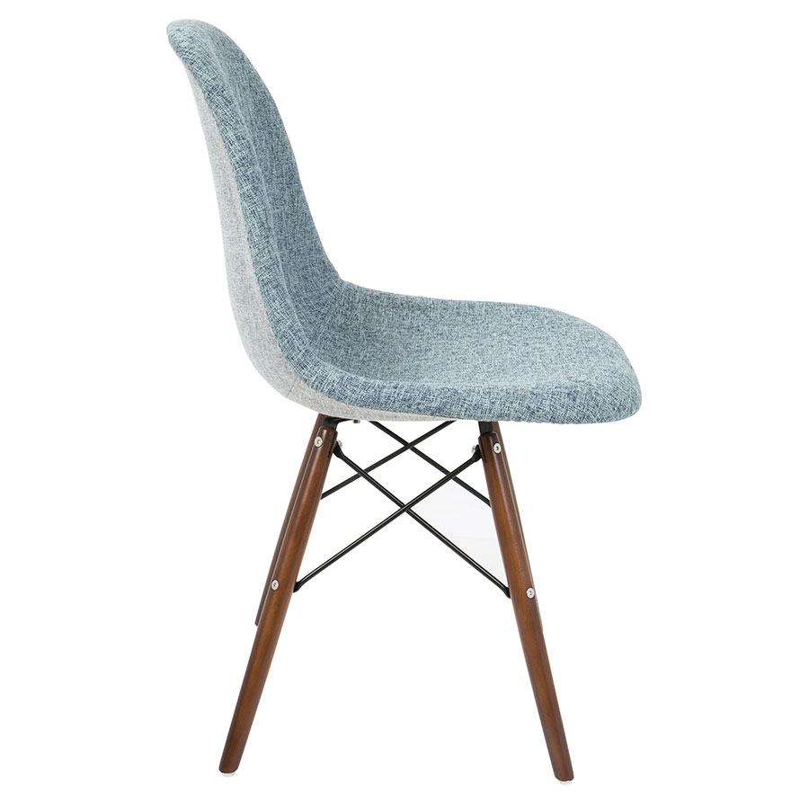 ... Bora Mid Century Modern Light Blue + Gray Side Chair   Side View ...