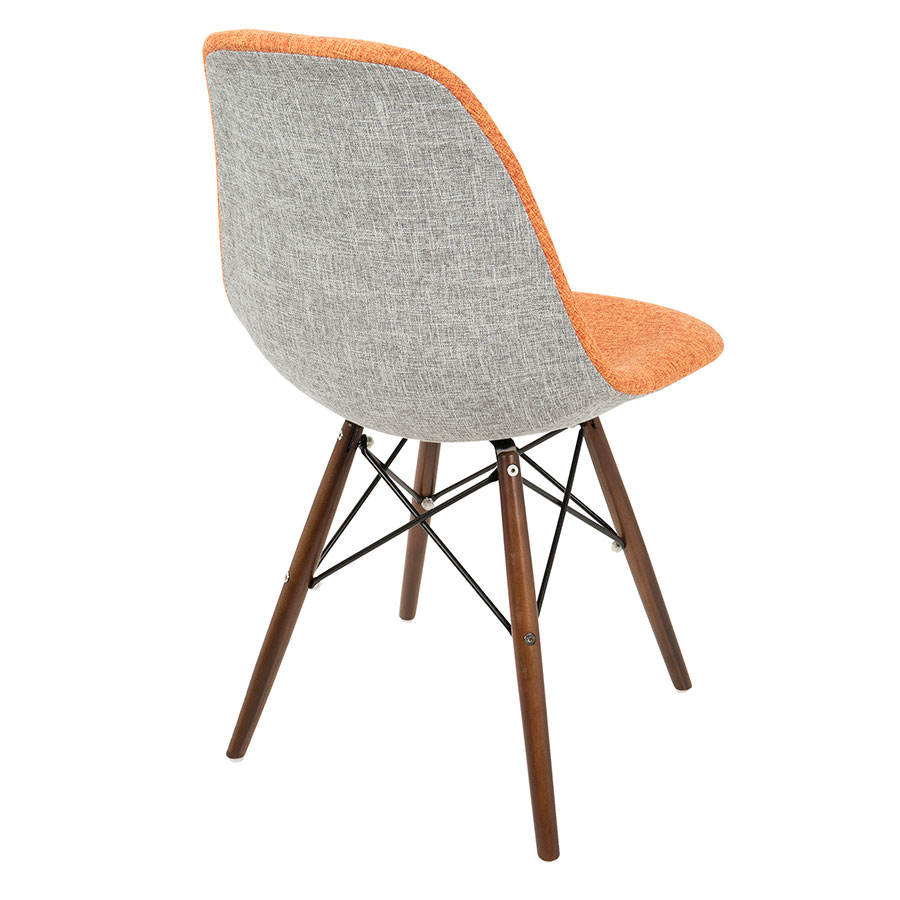 ... Bora Mid Century Modern Orange + Gray Side Chair   Back View ...