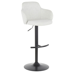 Boris Modern Adjustable Stool in Light Grey + Black