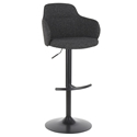 Boris Modern Adjustable Stool in Dark Grey + Black