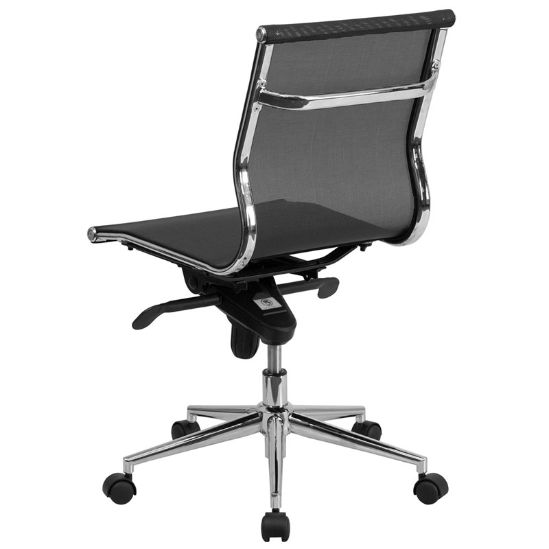 Boston modern mesh armless office chair eurway for Armless office chairs