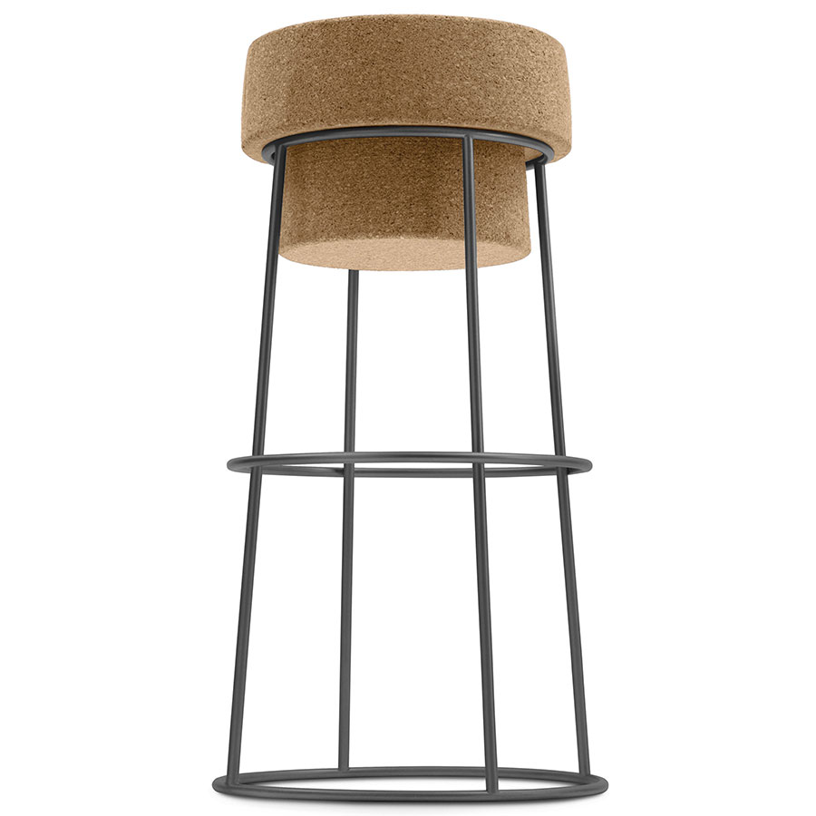 Bouchon-Sga Anthracite Modern Bar Stool by Domitalia