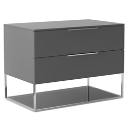 Modloft Bowery Matte Dark Gray Modern Nightstand with Polished Steel Frame