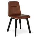 Gus* Modern Bracket Modern Dining Chair in Saddle Brown Genuine Top-Grain Leather with Painted Black Beech Wood Legs