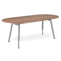 Gus* Modern Bracket Walnut + Gray Wood Contemporary Oval Dining Table