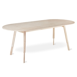 Gus* Modern White Wash Ash Modern Oval Dining Table