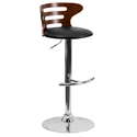 Bradford Modern Adjustable-Height Bar Stool in Walnut