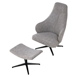 Bradhurst Griffin Fabric + Black Wood Modern Lounge Chair + Ottoman by Modloft Black