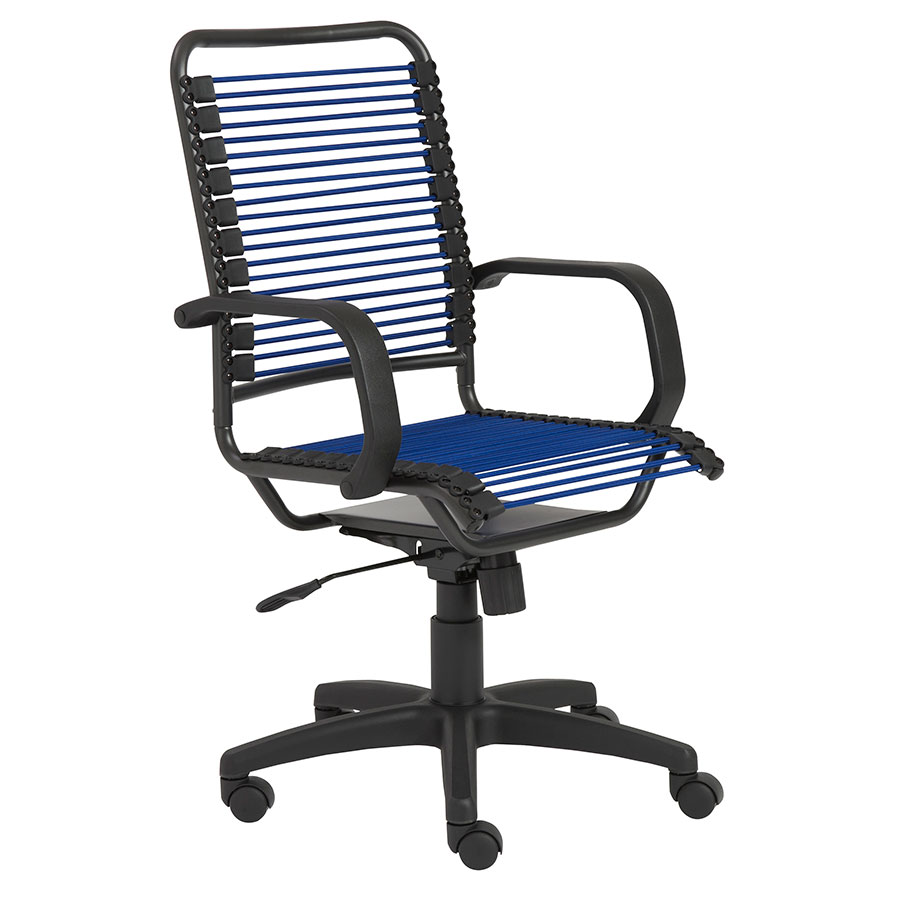 Bradley Modern High Back Blue Bungie Office Chair