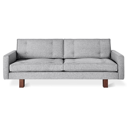 Gus* Modern Bradley Contemporary Sofa in Parliament Stone Fabric Upholstery with Walnut Stained Solid Wood Base