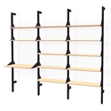 Gus* Modern Branch-3 Desk + Shelving Unit in Black and Blonde Ash Wood With Black Metal Brackets
