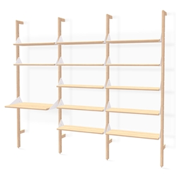 Gus* Modern Branch-3 Desk + Shelving Unit in Blonde Ash Wood With White Metal Brackets