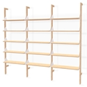 Gus* Modern Branch-3 Shelving Unit in Blonde Ash Wood With White Metal Brackets