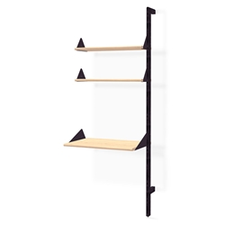 Gus* Modern Desk + Shelving Unit Add-On in Black and Blonde Ash with Black Metal Brackets