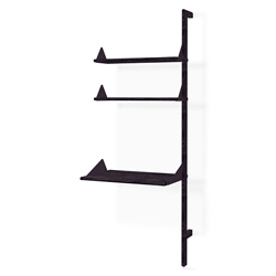 Gus* Modern Desk + Shelving Unit Add-On in Black Ash with Black Metal Brackets