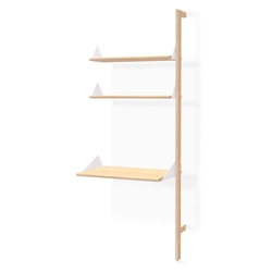 Gus* Modern Desk + Shelving Unit Add-On in Blonde Ash with White Metal Brackets