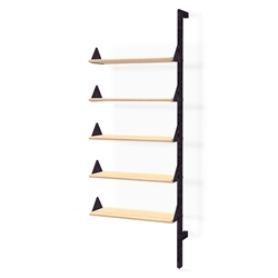 Gus* Modern Branch Add-On Shelving Unit in Black and Blonde Ash Wood with Black Metal Brackets