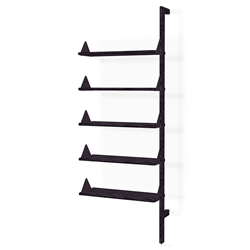Gus* Modern Branch Add-On Shelving Unit in Black Ash Wood with Black Metal Brackets