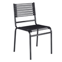 Bravo Modern Black Round Bungie Stacking Chair