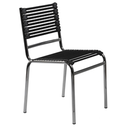 Bungie Modern Black + Chrome Flat Bungie Stacking Chair