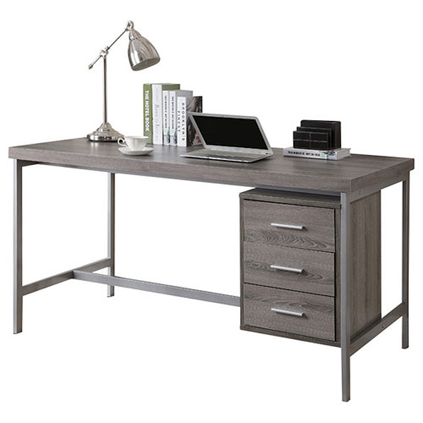 Call To Order Brenden Modern Dark Taupe Desk With Storage Cabinet