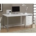 Brenden Contemporary White Desk with Storage Cabinet