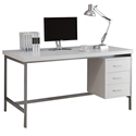 Brenden Modern White Desk with Storage Cabinet