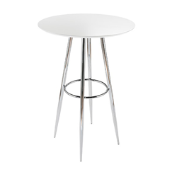 Bristol White Contemporary Bar Height Table with Chrome Metal Base