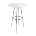 Bravo White Contemporary Bar Height Table with Chrome Metal Base