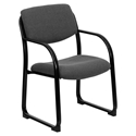 Briton Gray Fabric + Black Powder Coated Steel Contemporary Office Guest Chair