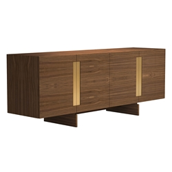 Brixton Walnut Wood + Brass Modern Sideboard by Modloft Black