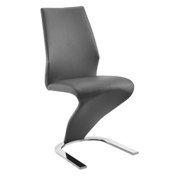 Bronson Gray Faux Leather + Chromed Metal Modern Dining Side Chair