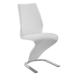 Bronson White Faux Leather + Chrome Modern Dining Side Chair