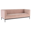 Nuevo Brooke Blush Velour + Matte Black Steel Modern Box Sofa