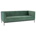 Nuevo Brooke Moss Velour + Matte Black Steel Modern Box Sofa