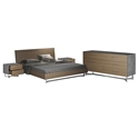Modloft Broome Contemporary Bedroom Set in Latte Walnut Wood, Brushed Stainless Steel and Concrete