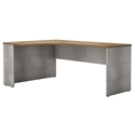 Modloft Broome Latte Walnut Wood + Gray Concrete Modern Left Corner Desk