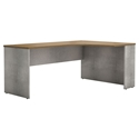 Modloft Broome Latte Walnut Wood + Gray Concrete Modern Right Corner Desk