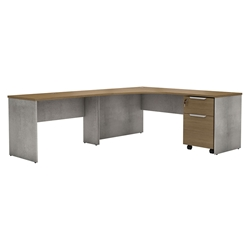 Modloft Broome Latte Walnut + Concrete Modern Left Facing L Desk Set