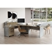 Modloft Broome Latte Walnut Wood + Gray Concrete Modern Right Facing Desk Set - Room Setting
