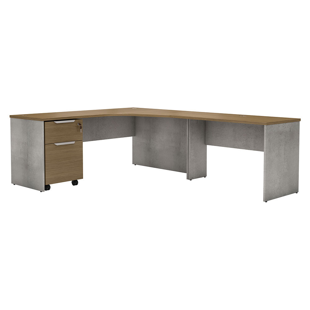 Modloft Broome Latte Walnut Wood + Gray Concrete Modern Right Facing Desk Set