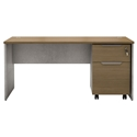 Modloft Broome Latte Walnut + Distressed Concrete Modern Desk + File Set