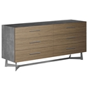 Modloft Broome Latte Walnut + Concrete + Brushed Steel Modern Dresser