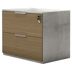 Modloft Broome Latte Walnut + Concrete Modern Lateral File Cabinet