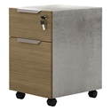 Modloft Broome Latte Walnut + Concrete Modern Mobile File Cabinet