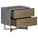 Modloft Broome Latte Walnut + Concrete + Brushed Steel Modern Nightstand